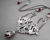 Dragon Necklace Chimera Beast Fantasy Jewelry Victorian Gargoyle Blood Red Mythic Creature Antiqued Silverplate Ornate Centerpiece Epic Lion