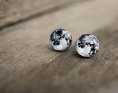 Moon stud earrings - Stud earrings - Moon jewelry - Moonstone - Moonstone earring - Solar system - Free shipping / STD00