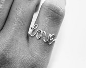 wire love ring - love jewelry - girlfriend gift - cursive word ring - oui // silver or gold
