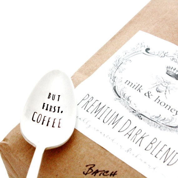 But First, Coffee. Stamped Spoon and 1lb Dark Roast Ground Coffee. Stamped Silverware and Small Batch Coffee. Coffee Lover Gift Set.