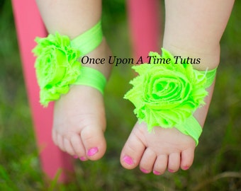 Bright Lime Green Shabby Flower Barefoot Sandals - Great For All Ages - Newborn Baby Shower Gift - Summer Infant Toddler Shoes
