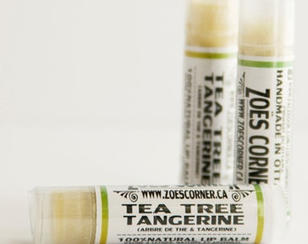Lip Balm -Tea Tree & Tangerine- 100% Natural Lip Balm - made with Local Sunflower oil and Local Beeswax