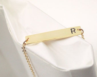Initial Bar Necklace, Personalized Necklace, best friend, Hand Stamped Initial Necklace,Gold initial, bridesmaid gift