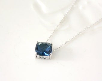 Blue Stone Necklace,dark blue,bridesmaid necklace, deep blue necklace,stone in bezel, glass stone,Sapphire Blue,Montana blue