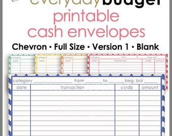 Chevron Printable Cash Envelope Ver.2, Budget Envelope System, Cash Organizer - Set of 5, Instant Download - PB1502