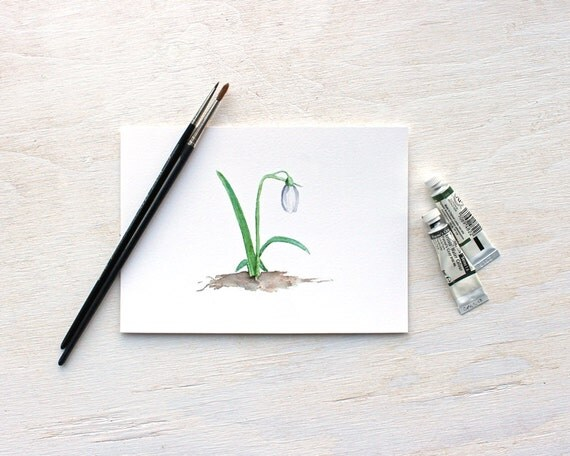 Snowdrop Watercolor, Floral Print, Spring Flowers, Snowdrop Painting, Springtime, Garden, Galanthus, Green, 5 x 7 Print