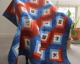 "Lap Quilt ""Orchid Potpourri"" Log Cabin Throw, Quilted Blanket, Orange White Blue Quilt, Log Cabin Quilt, Quiltsy Handmade, Wheelchair Quilt"