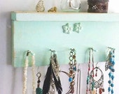 Lite Mint Jewelry Shelf Shabby Necklace Organizer Choose Your Color Bath & Beauty. Cute Baby or Shower Gift
