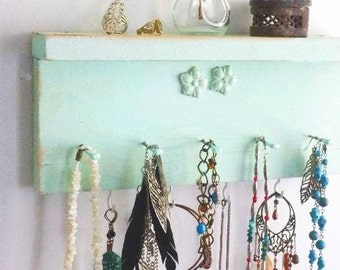 Distressed Jewelry Shelf Shabby Necklace Organizer with Floral Embellishment...Choose Your Color Bath & Beauty. Cute Baby or Shower Gift