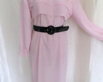 Vintage 80s womens dress cotton candy pink pastel long sleeve plus size 16W dressy casual shift style