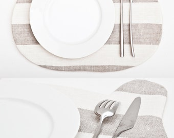 Bear Placemat Strips Beige Table Linens Beige Kitchen Decor Baby Shower Favors Cute Table Mats Housewarming Gifts Grandma Gift