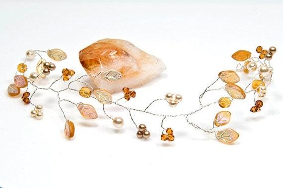 Golden Yellow Hair Vine, Hair Piece, Bridal Accessories, Wedding Hair Accessories, Rustic Wedding, Winter Wedding, Floral Hair Piece