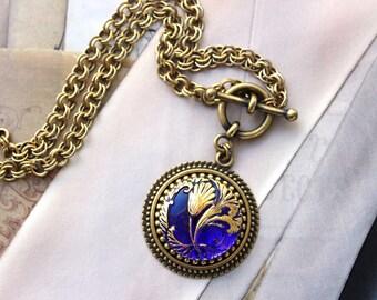 Sapphire Blue Art Glass Necklace, September Birthday Gifts, Brillian Blue pendant, Toggle Necklace, Czech Glass Necklace, Jewelry veryDonna