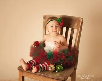 BABY CHRISTMAS TUTU Set, Christmas Tutu, 3 pc set, Tutu, Legwarmers, Headband, Christmas Tutu Set, Christmas Photo Prop, Holiday Tutu Set