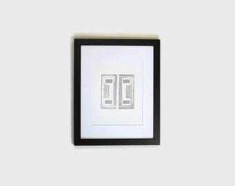 geometric wall print // modern wall decor // grey wall decor // office decor // hand stamped print // original art wall decor // artwork