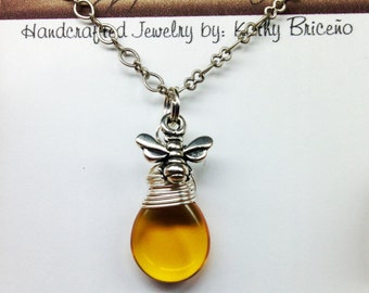 Drop Of Honey Bee Dangle Necklace on Matching Chain (3 Choices of Bee)