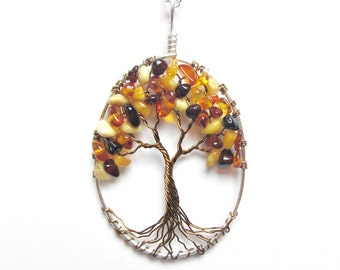Baltic Amber Tree of Life Necklace, GENUINE Amber Healing Necklace In Silver