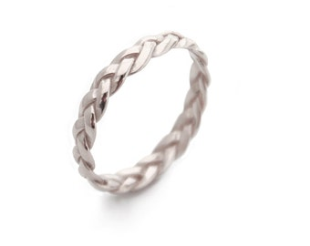 Silver Rings, Braided Silver Ring, Sterling Silver braid Ring, Silver band, Braided Ring, trending, popular rings