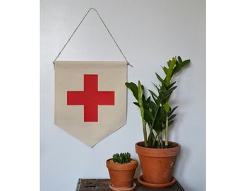 Handmade RED Swiss Cross Hanging Wall Banner - Swiss Cross Wall Banner
