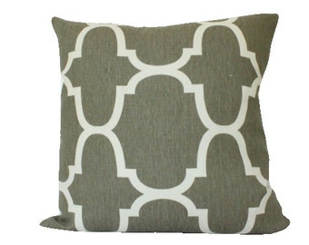 Grey Riad Pillow Cover in Geometric Kravet Fabric