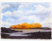 Fall Landscape, Landscape Painting, Watercolor, Marshes, Marsh Landscape, Golden Trees, Orange Trees, Fall Trees, Blue Sky, Fluffy Clouds