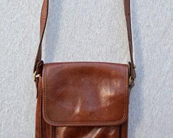 Vintage Leather Satchel, Purse, Shoulder Bag, Handmade in USA