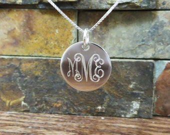 """Sterling Silver Necklace - 7/8""""- Inital Necklace - Personalized - Monogrammed Necklace - Bridesmaids Gift"""