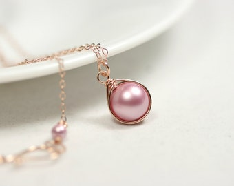 Rose Gold Necklace Pink Pearl Necklace Wire Wrapped Jewelry Rose Gold Necklace Pearl Solitaire Necklace Rose Gold Jewelry Bridal Pearl