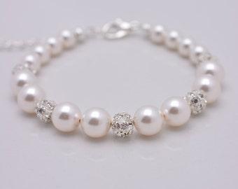 Pearl and Rhinestone Bracelet Wedding Bracelet, Pearl Bridal Bracelet, Swarovski Pearl Bracelet, Adjustable Bridesmaid Pearl Bracelet 0210