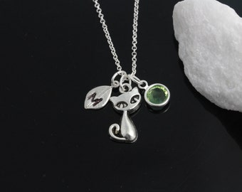 Personalized Cat necklace in sterling silver chain, personalized silver cat necklace, birthstone jewelry initial necklace