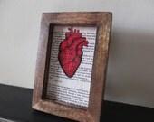 The Bell Jar Art print anatomical heart Sylvia Plath Framed book page I am, I am, I am. Wall art distressed dark wood frame home decor