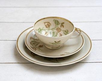 Vintage German Teacup and Saucer Trio Set -Green and Brown Leaves- Autumnal Botanical