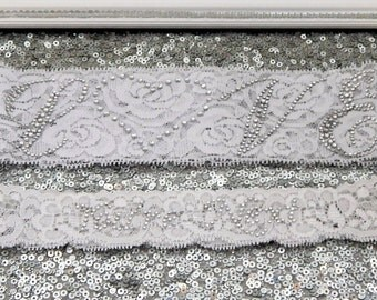 CRYSTAL PHRASE Love Rhinestone Wedding Garter Set Bridal On White Lace Show