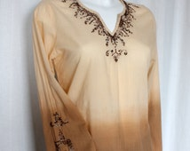 Bohemian ombre top beaded embroidered dip dyed Cotton  hippie festival wear made in India  70s