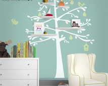 Bird Tree Wall Decal with Shelving / Wall Shelves Design for Baby Nursery - 0093
