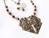 VICTORIAN VALENTINE heart statement necklace pink and bronze necklace czech glass necklace beaded necklace