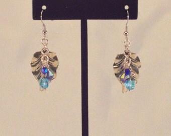 Silver leaf earrings Blue crystal dangle earrings.   1 inch dangle earring