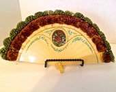 Antique Art Nouveau Hand Painted Celluloid Folding Fan With Feather Trim
