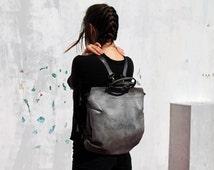 Gray leather backpack bag/leather bag/handbag/tote bag/handmade/gift/women bag