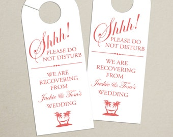 Set of 10 - Tropical Door Hanger for Wedding Hotel Welcome Bag - Do Not Disturb - Destination Wedding - Palm Tree - Beach - Custom