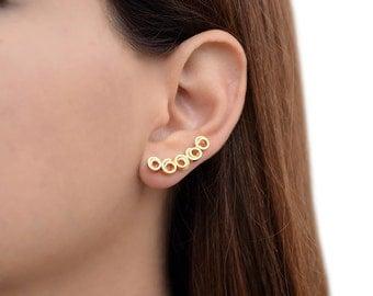Minimalist ear climbers, gold ear cuff earrings, earcuffs, sterling silver ear cuffs, ear crawlers, ear sweeps, hypoallergenic ear cuffs
