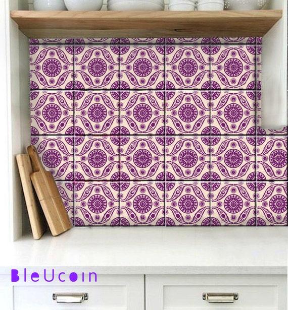Bleucoin Tile Decal Backsplash: Tile/wall Decal : Mughal Style- 44pcs
