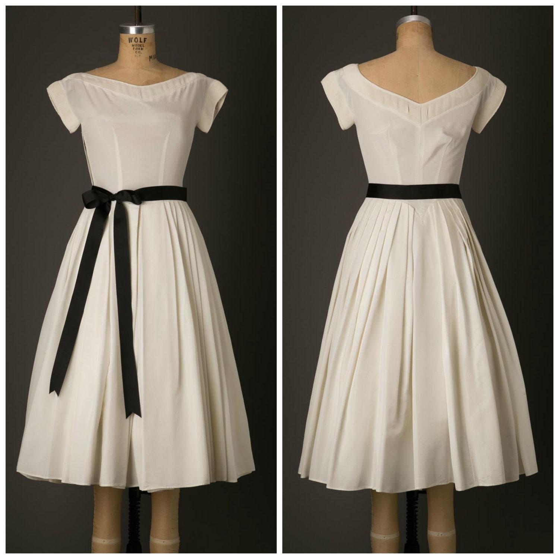 1950s white tea length wedding dress by bloomersandfrocks for 1950s tea length wedding dress