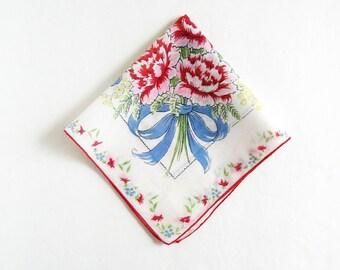 Vintage Print Handkerchief - Red Flower Bouquet White Cotton Hankie Floral Print Hankie - Something Old Red White & Blue Mens Pocket Square