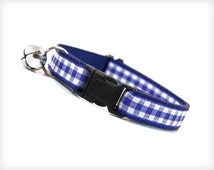 """Cat Collar - """"Back in Time"""" - Royal Blue Gingham / Check"""