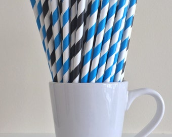 Blue and Black Striped Paper Straws Party Supplies Party Decor Bar Cart Cake Pop Sticks Mason Jar Straws Graduation