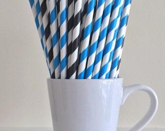 Blue and Black Striped Paper Straws Party Supplies Party Decor Bar Cart Cake Pop Sticks Mason Jar Straws Graduation
