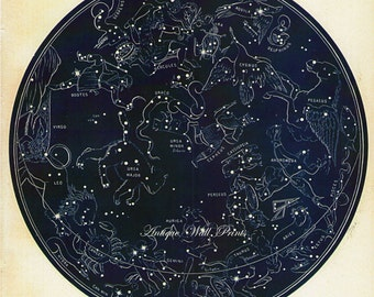 Large Old Constellations Figures Northern Zodiac Star Chart Print SIX SIZE OPTIONS