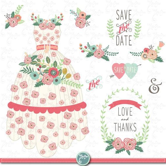 Wedding Clipart Pack FLORAL WEDDING DRESS Clip ArtVintage FlowersFlower DressFloral FramesWreathWeddingSave The DateinvitationWd118