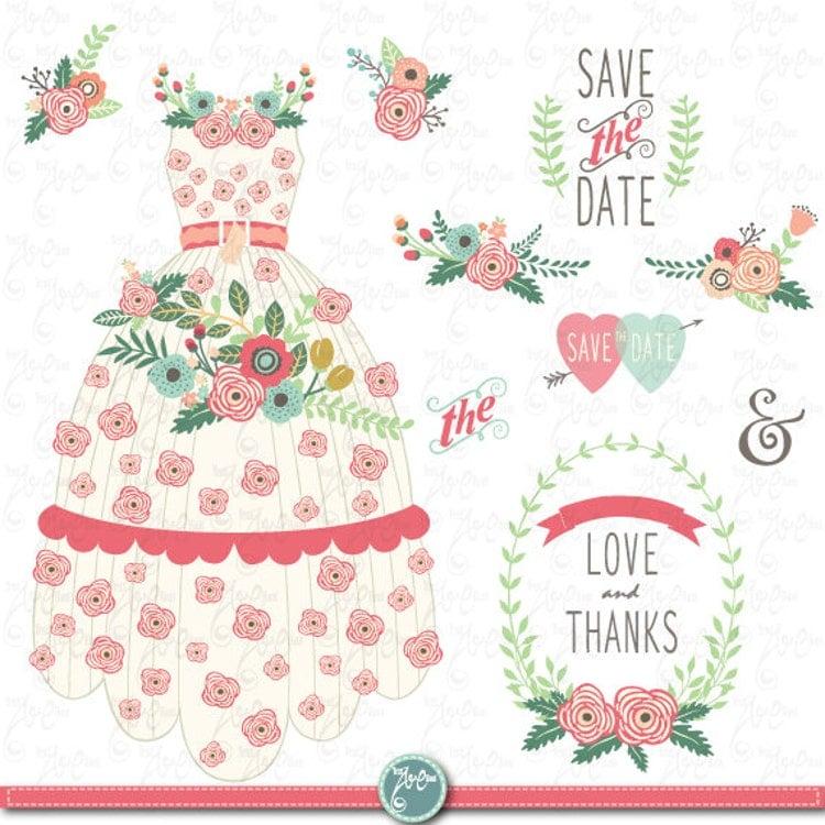 Wedding Clipart Pack FLORAL WEDDING DRESS Clip By YenzArtHaut